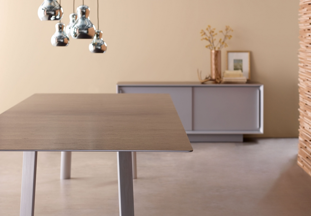 Preview of Kai | Conference Table | Veneer Top | Clear Anodized Metal Legs | Matching Credenza
