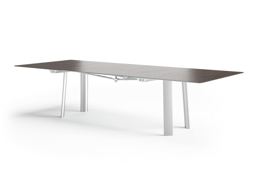 Preview of Kai   Conference Table   Rectangle Veneer Top   Clear Anodized Metal Legs