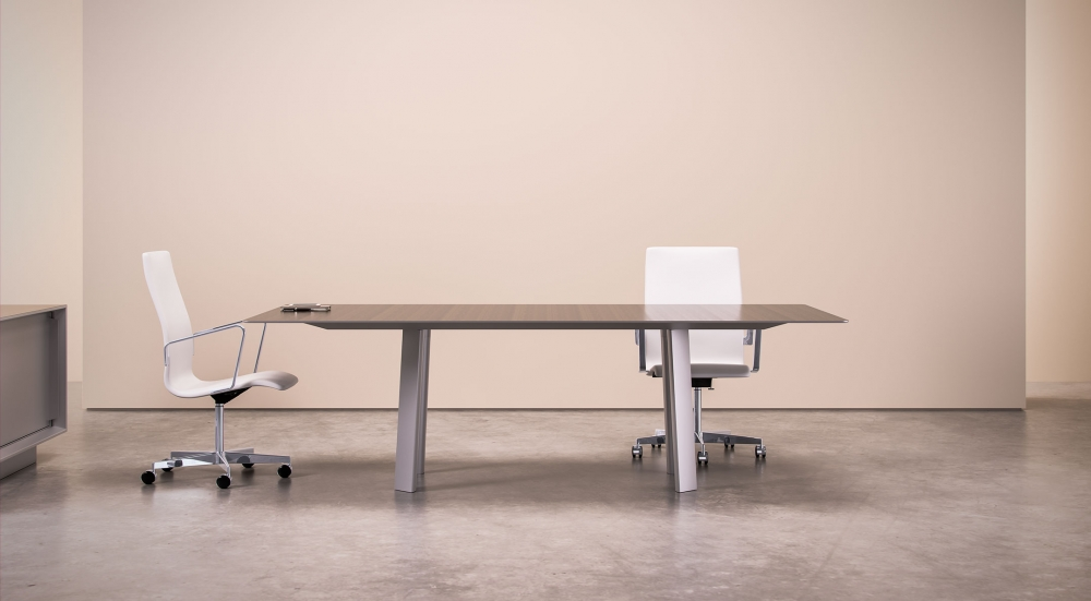 Preview of Kai | Conference Table | Rectangle Veneer Top | Clear Anodized Metal Legs | WIthout Camber Rail