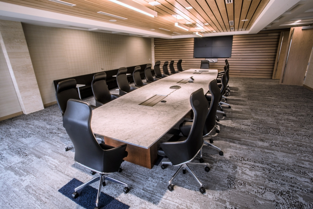 Preview of Flow | Conference Table | Boat Shape Stone Top | Veneer Rectangle Base | Corporate Design Interiors