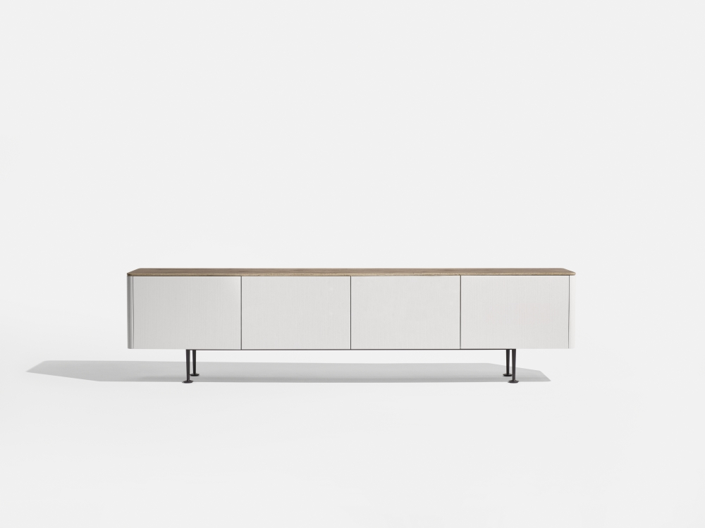 Preview of MYNE | Credenza | M44 Blanco Veneer | Riverbed Corian Top | Aged Bronze Powdercoat Legs