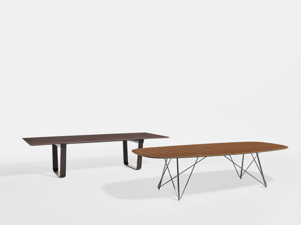Preview of Baja | Conference Table | Soft Rectangle Paldao Veneer Top | Polished Chrome Wire Frame Base Baja | Conference Table | M07 Bramble Oak Veneer Top | Aged Bronze Powdercoat Hoop Base