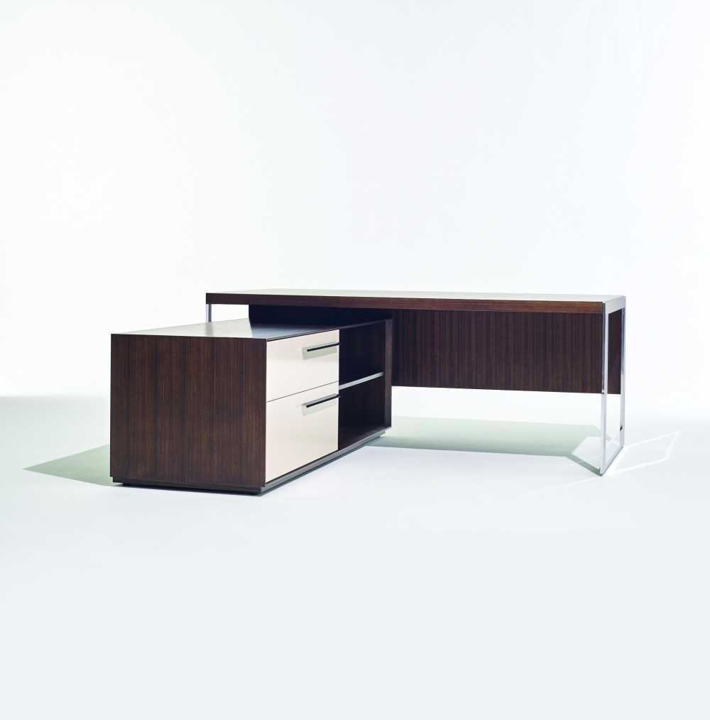 Preview of Ascari | Casegood | Thicket Paldao Veneer | Polished Chrome Base | Freestanding Desk