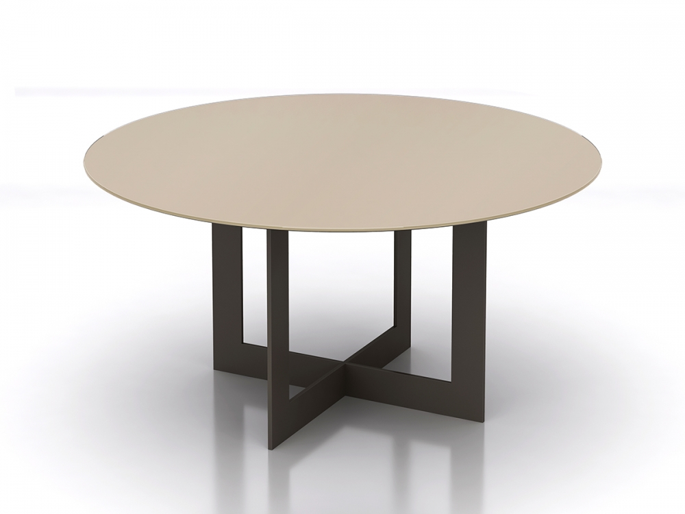 Preview of Ascari   Meeting Table   Round Quill Glass Top   Aged Bronze Open Frame Base