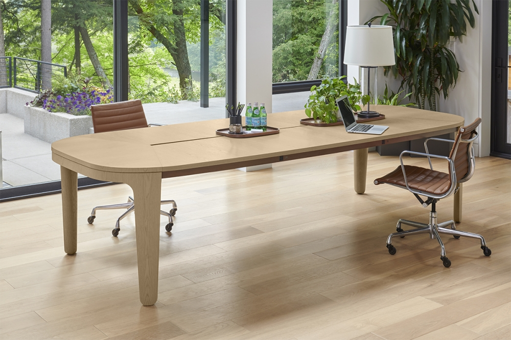 Preview of Alev Meeting | Conference Table | Segmented Top | Dune Veneer | Satin Bronze Metal Side Accent | Community Space | 2
