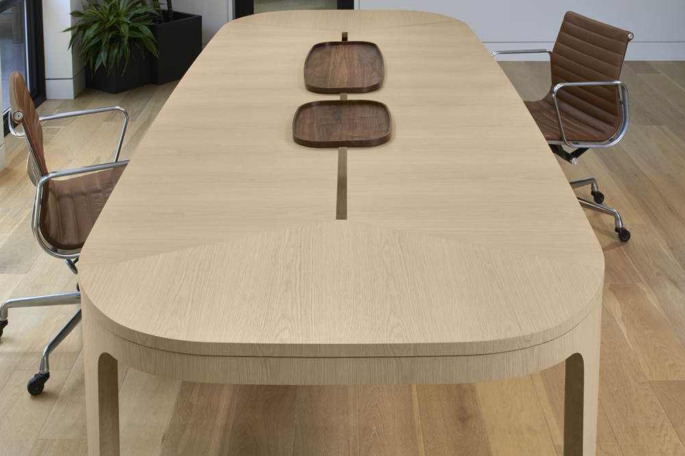 Preview of Alev Meeting | Conference Table | Segmented Top | Dune Veneer | Walnut Tray