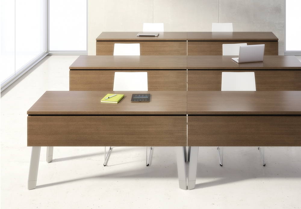 Preview of Agility | Reconfigurable Tables | G31 Otter Walnut Veneer | Polished Chrome Legs | Modesty Panel