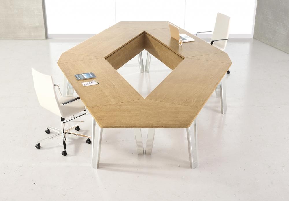 Preview of Agility | Reconfigurable Tables | Lines M08 Oak Linea Veneer | Bridge Top