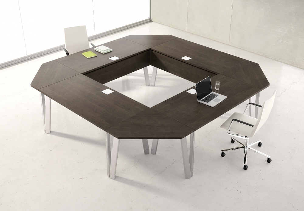 Preview of Agility | Reconfigurable Tables | Walnut G30 Zinc Veneer | Square Configuration