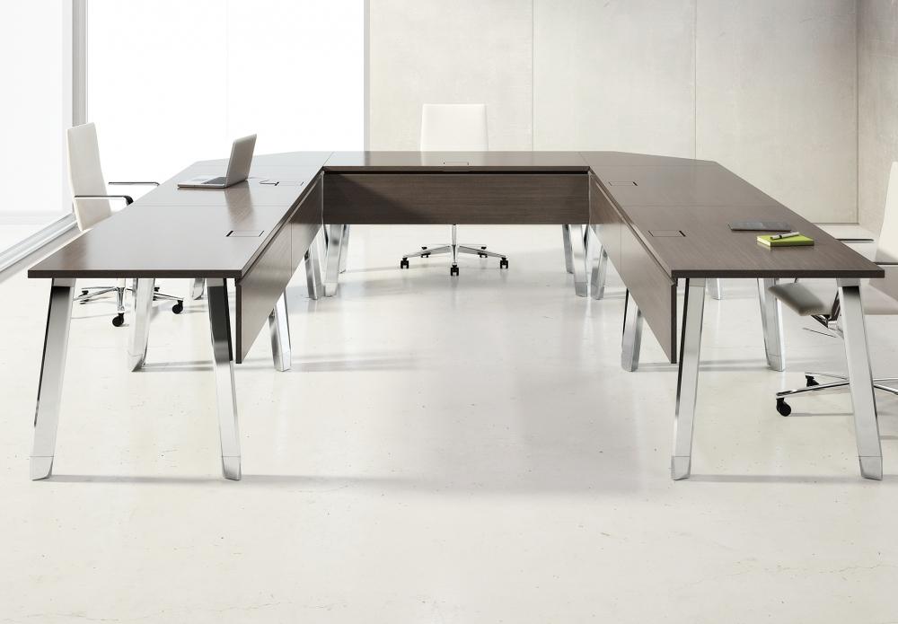 Preview of Agility | Reconfigurable Tables | Walnut G30 Zinc Veneer | U Shape Configuration