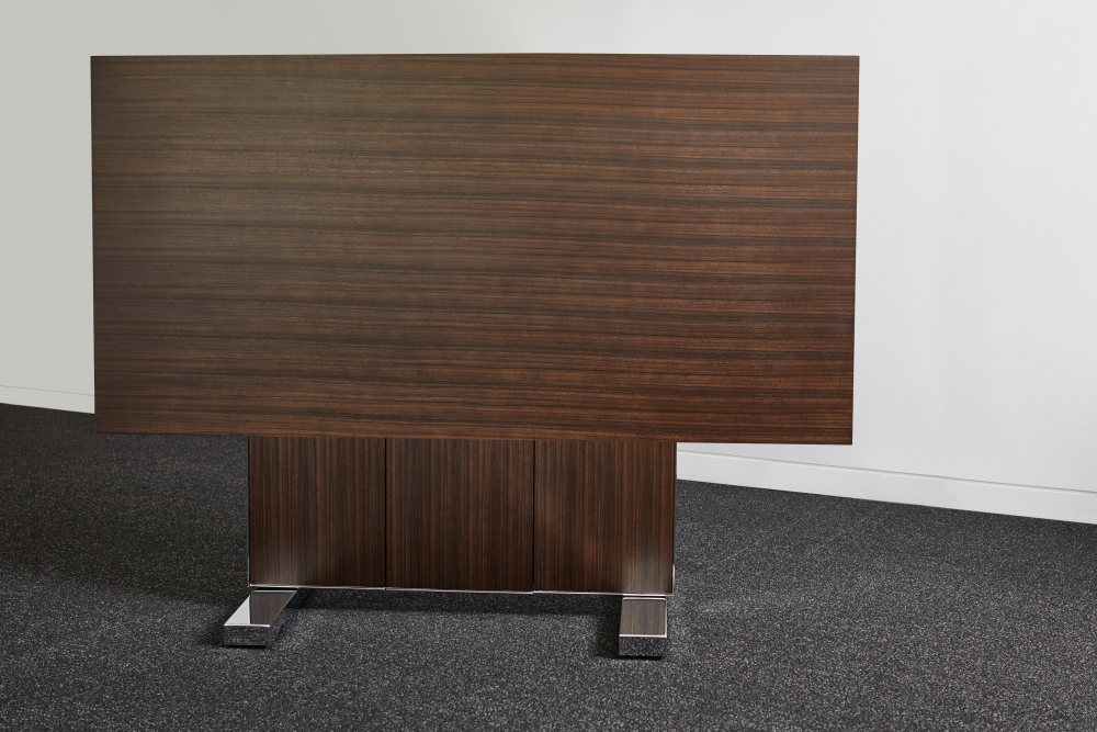 Preview of Approach   Reconfigurable Table   99X66   Thicket Paldao Veneer   Polished Chrome Base