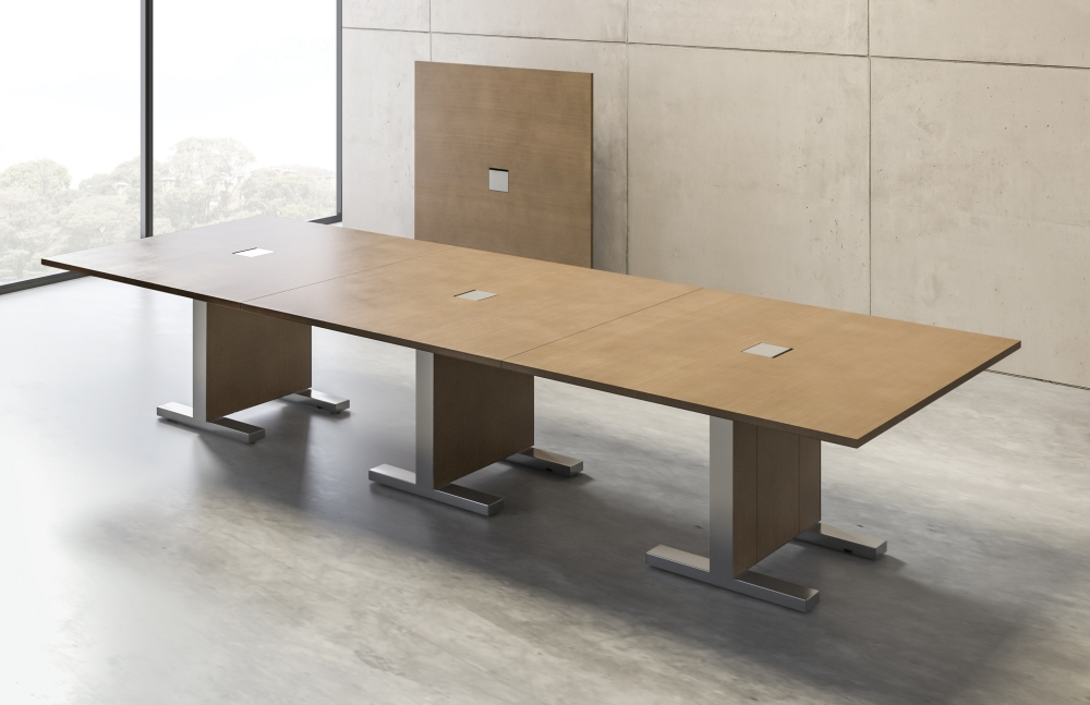 Preview of Approach | Reconfigurable Table | M08 Oak Linea Veneer | Conference Configuration