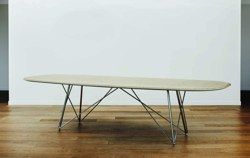 Preview of Baja | Conference Table | Custom Veneer Top | Polished Chrome Wire Frame Base | Soft Rectangle, Surf Edge