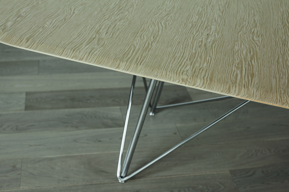 "Preview of Baja | Conference Table | Custom Veneer Top | Wire Frame Base Detail | 120"" x 48"" Size"
