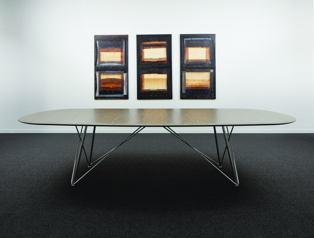 Preview of Baja | Conference Table | Soft Rectangle Custom Veneer Top | Polished Chrome Wire Frame Base