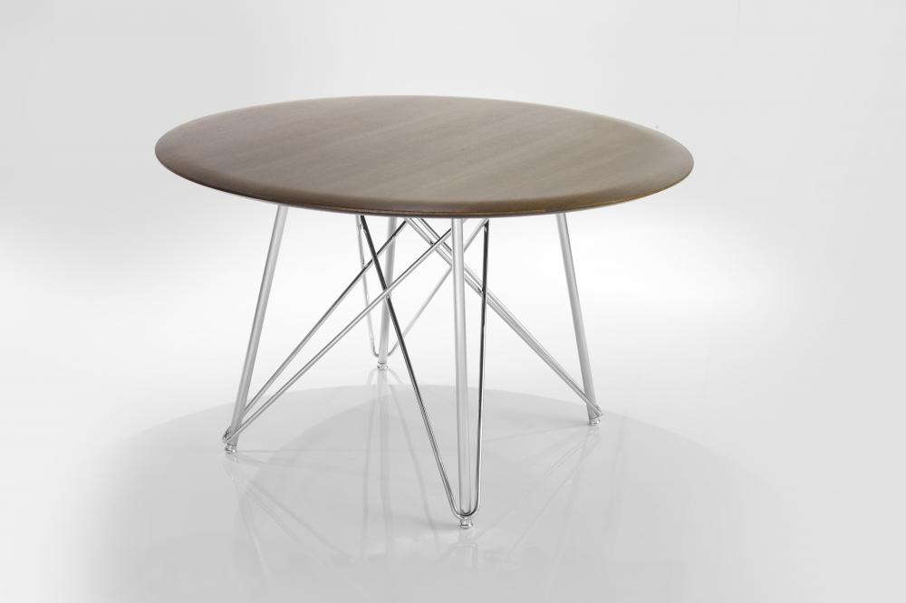 Preview of Baja | Meeting Table | Round M07 Bramble on Rift Cut Oak | Polished Chrome Base