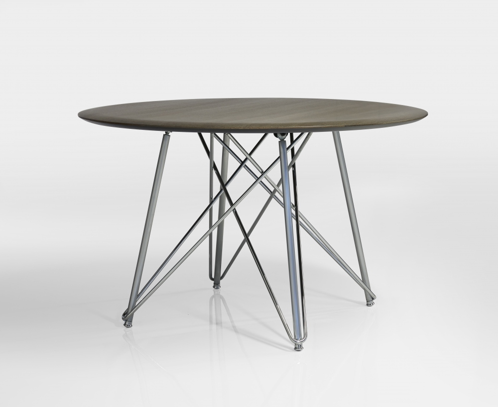 Preview of Baja | Meeting Table | Round M07 Bramble Oak Veneer | Polished Chrome Wire Frame Base |