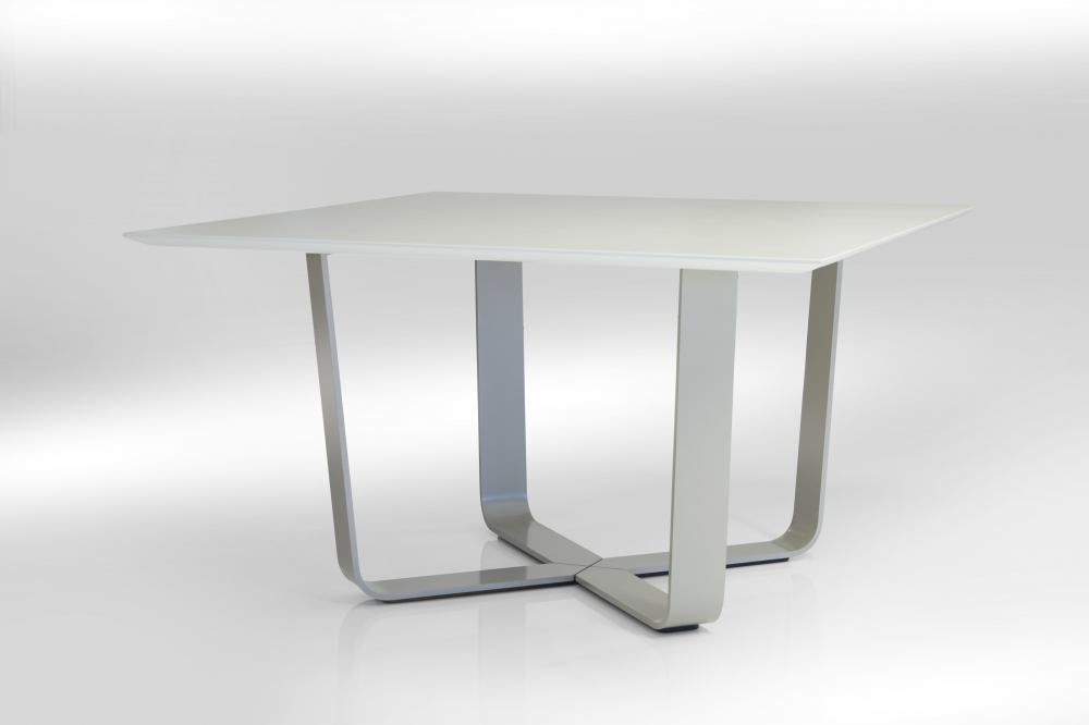 Preview of Baja | Meeting Table | Square White Ash Laminate Top | Burnished Powdercoat Hoop Base | Crest Edge