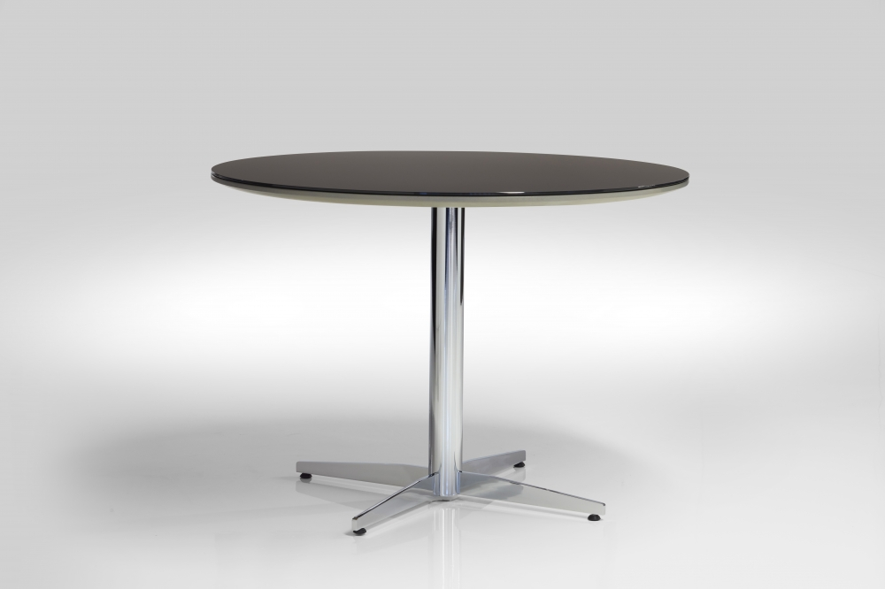 Preview of Cambium | Meeting Table | Black Satin Glass Top | Polished Chrome Base