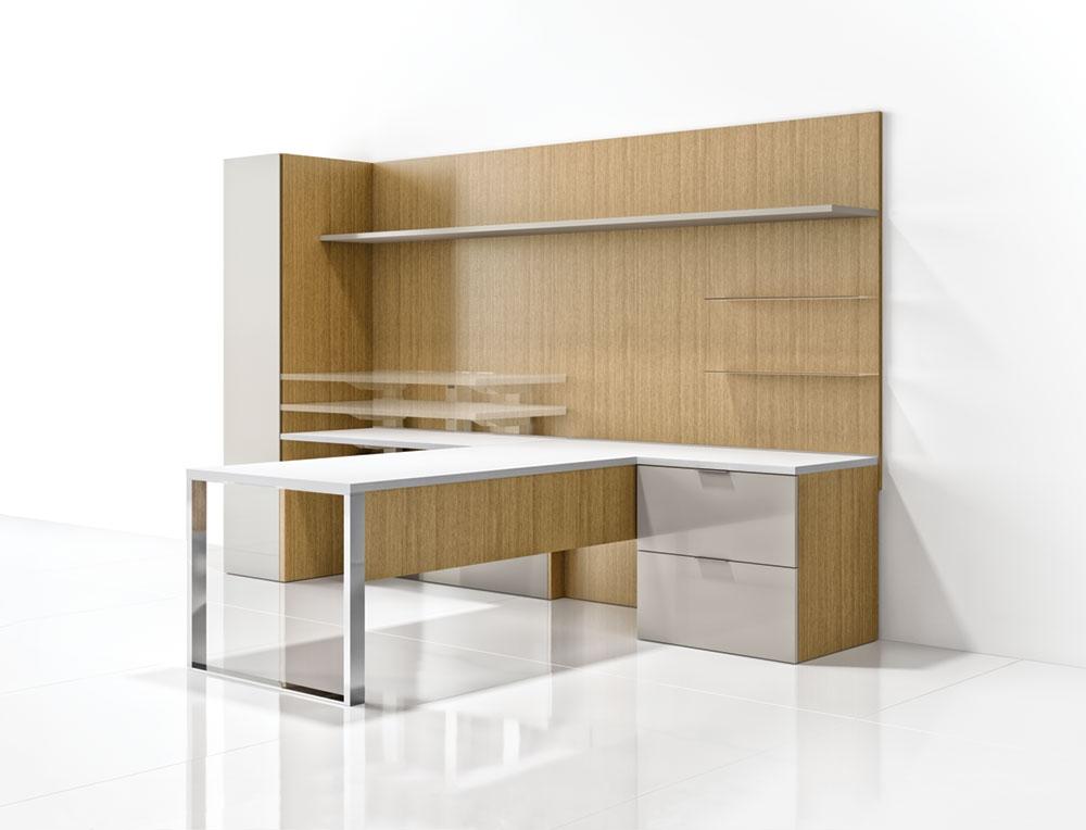 Preview of Cambium |Casegood | M08 Oak Linea Veneer | Polished Chrome Leg | Moonlight Painted Doors | Meringue Satin Glass Shelves | T Shape Application | Single High Painted Overhead Shelf