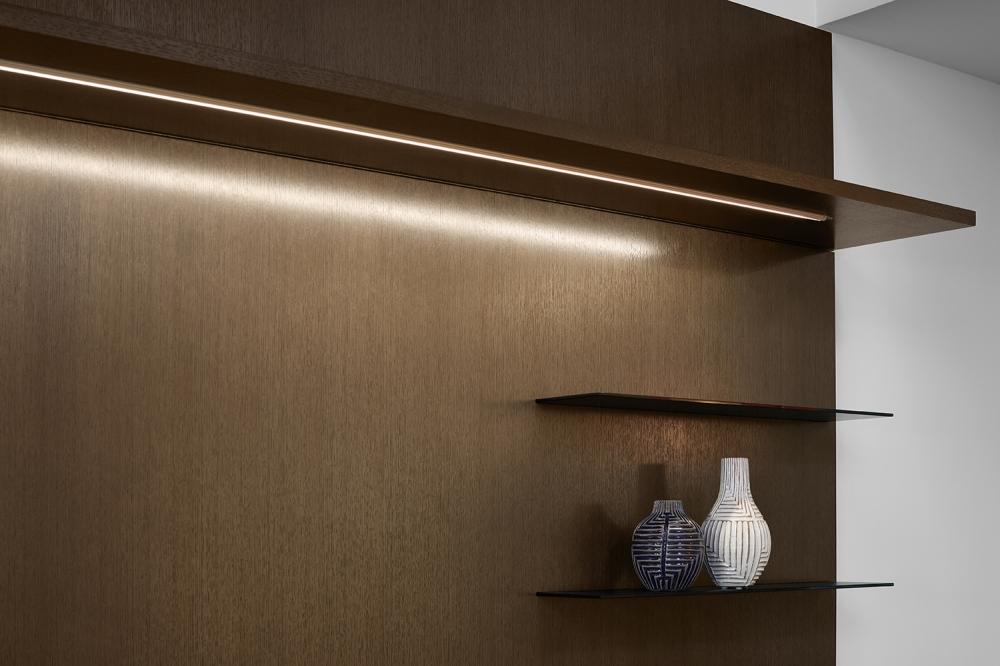 Preview of Cambium | Casegood | G03 Carbon Rift Cut Oak Veneer | Shelf Detail with Task Light