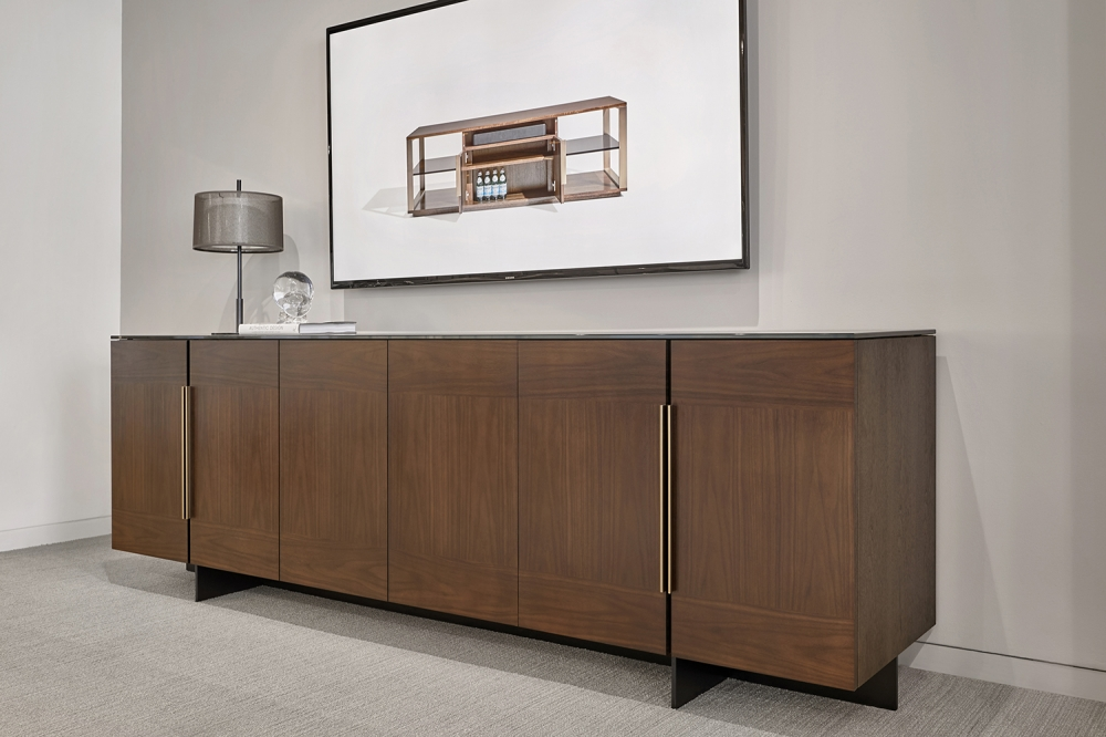 Preview of Forena | Buffet Height Credenza | M33 Mocha Walnut Veneer | Black Powdercoat Base