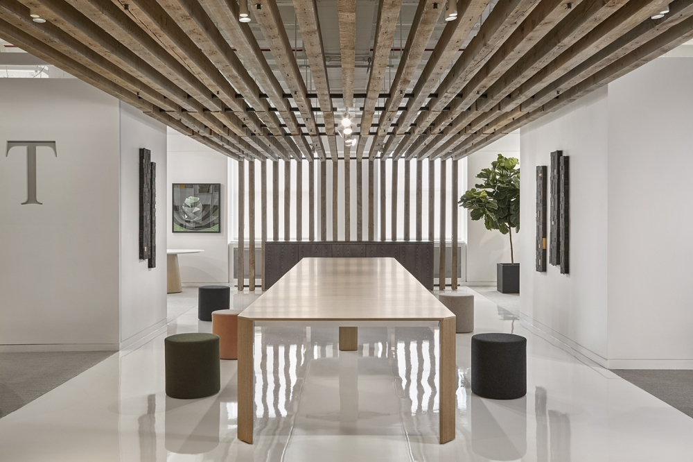 "Preview of Tova | Conference Table | 240"" × 54"" Custom Black Birch Linea Veneer 