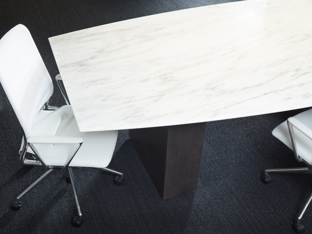 Preview of Flow | Conference Table | Boat Shaped Stone Top | Veneer Column Base | Chicago Showroom