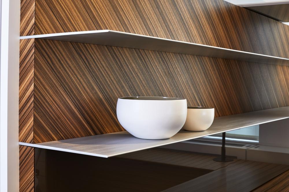 Preview of Merino   Custom   Paldao Veneer   Clear Anodized Shelves   Chicago Showroom