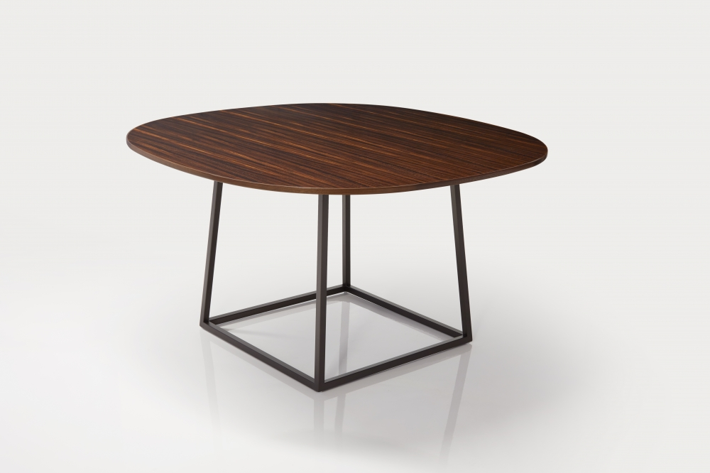 Preview of Two4Six   Meeting Table   Soft Square Custom Fumed Etimoe Veneer   Open Frame Base