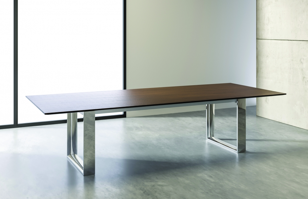 "Preview of Flow | Conference Table | Rectangle M35 Marron Walnut Veneer Top | Polished Chrome Hoop Leg Base | 120"" x 48"" SIze"