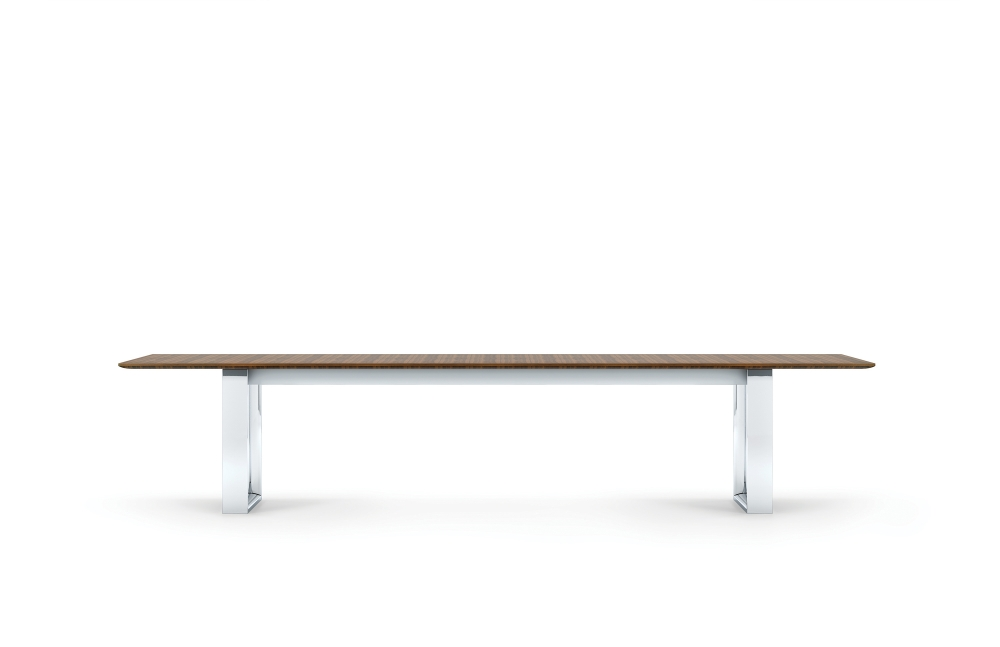 "Preview of Flow | Conference Table | G35 Marron Walnut Veneer | 144 x 48"" Rectangle Shape Top 