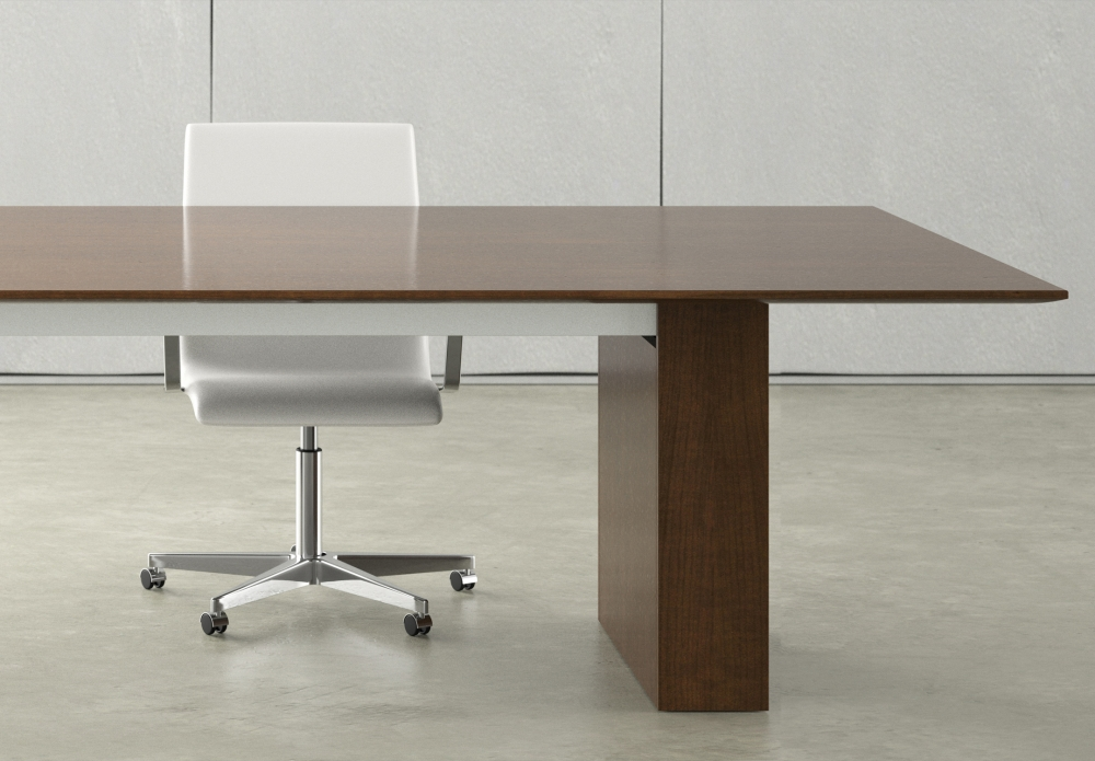 Preview of Flow | Conference Table | M35 Marron Walnut Veneer Top | Veneer Expandable Rectangle Base