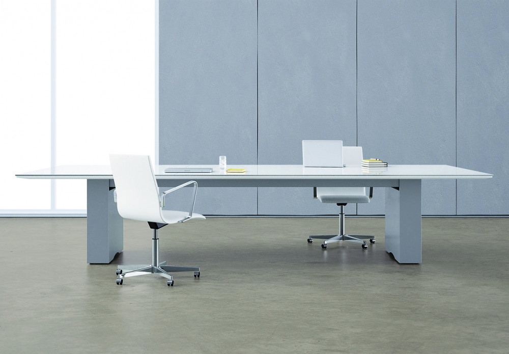 Preview of Flow | Conference Table | Rectangle White Glass Top | Cloud Paint Rectangle Base