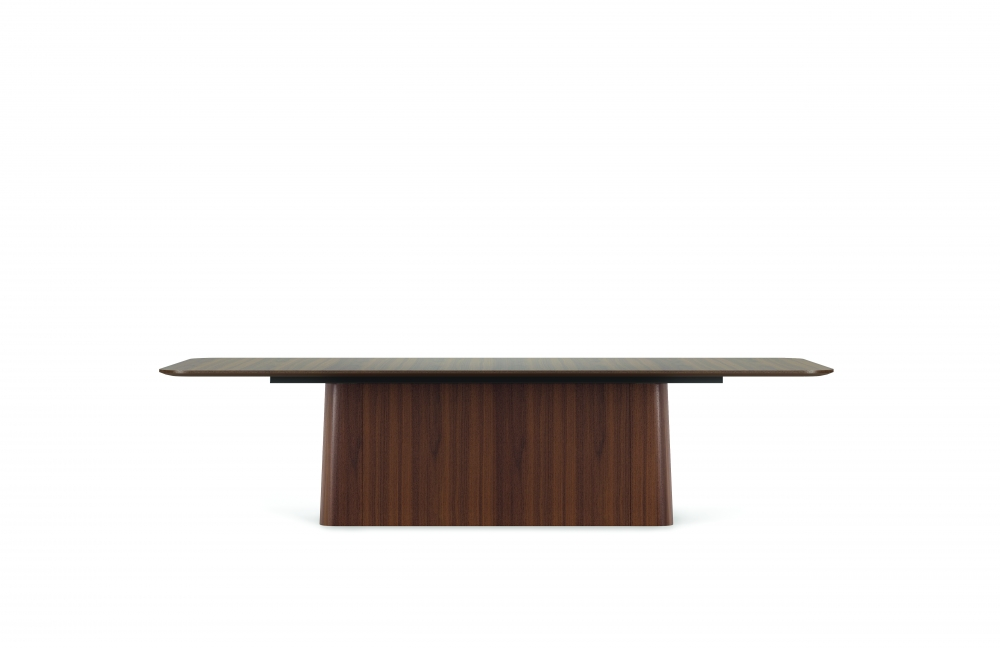 "Preview of Flow | Conference Table | Radius Rectangle M35 Marron Walnut Veneer Top | Veneer Island Base | 120"" x 54"" Size"