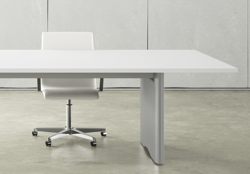 Preview of Flow | Conference Table | Rectangle Bright White Laminate Top | Foil Powdercoat Panel Base