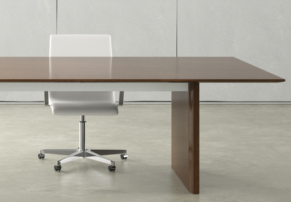Preview of Flow | Conference Table | Rectangle Veneer Top | Veneer Panel Base