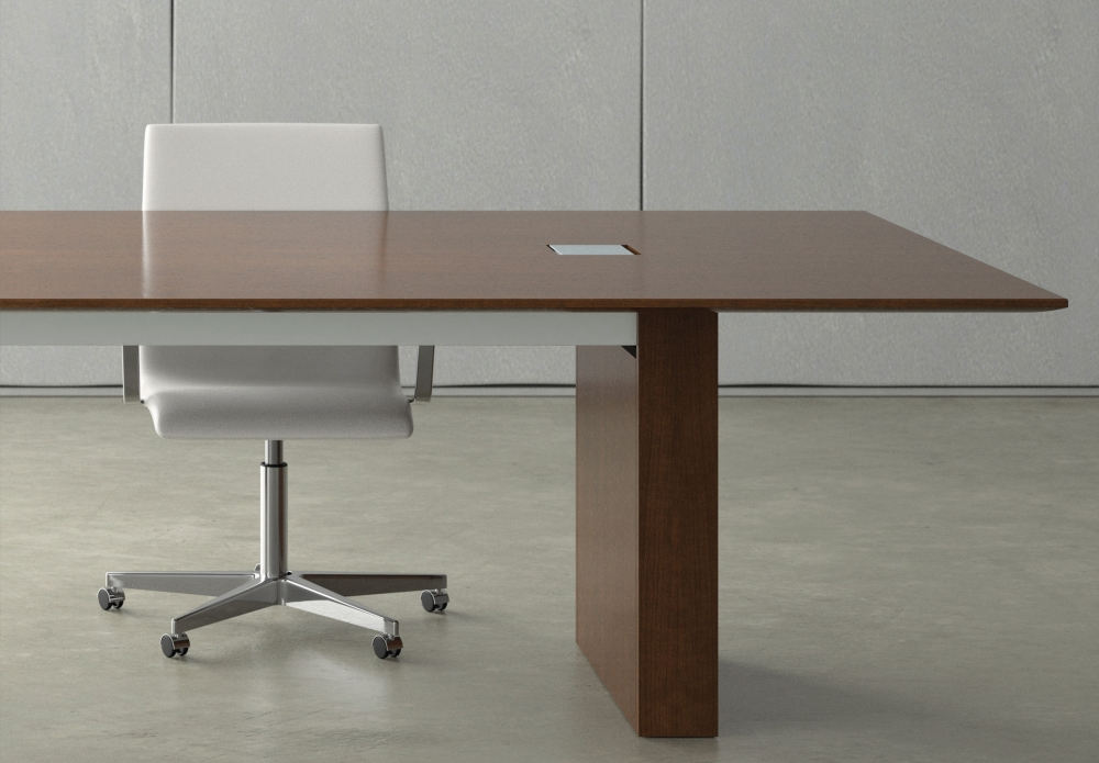 Preview of Flow | Conference Table | Rectangle M35 Marron Walnut Veneer Top | Veneer Panel Base | Small Power Matrix
