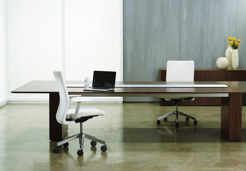 Preview of Flow XT | Conference Table | Rectangle M35 Marron Walnut Veneer | Veneer Panel Base | Power Island