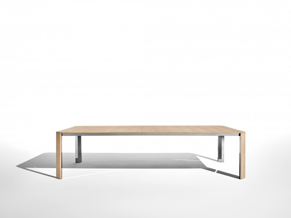 Preview of Tova | Conference Table | Dune Veneer  | Polished Chrome Underside | Side View