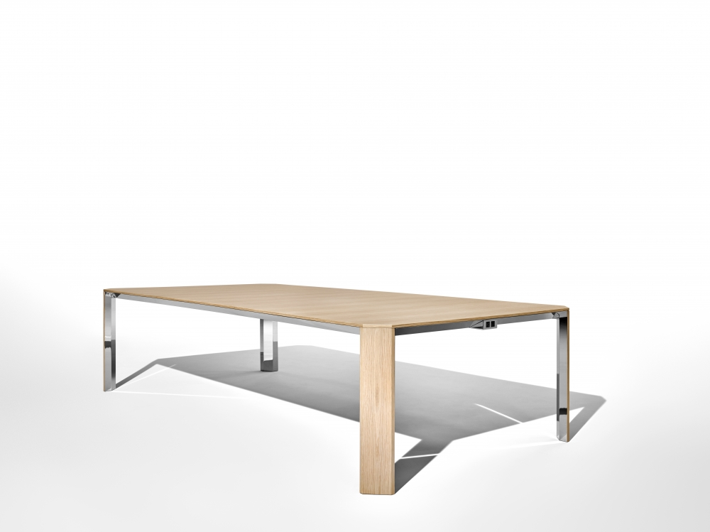 Preview of Tova | Conference Table | Dune Veneer  | Polished Chrome Underside | Angled View