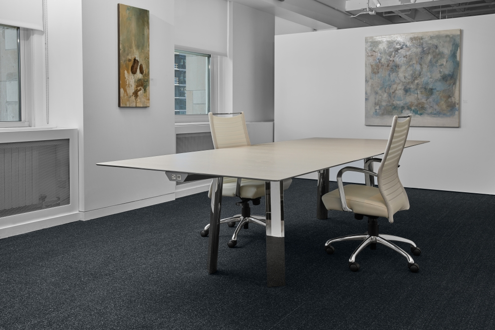 Preview of Kai | Conference Table | Rectangle Blanco Ash Veneer Top | Polished Chrome Metal Legs | Chicago Showroom