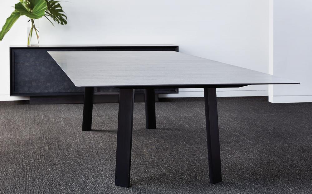 Preview of Kai | Conference Table | Custom Veneer Top | Blackened Nickel Legs | Chicago Showroom