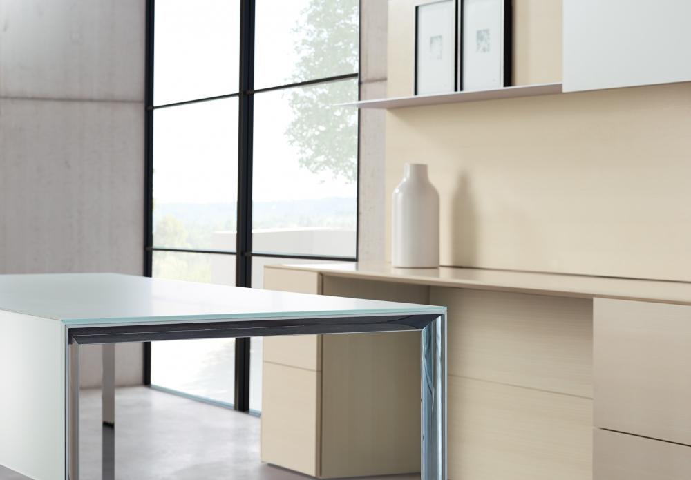 Preview of Merino | Casegood | Freestanding Desk |G48 Chalk Quartered Ash Veneer | Polished Chrome Beveled Leg