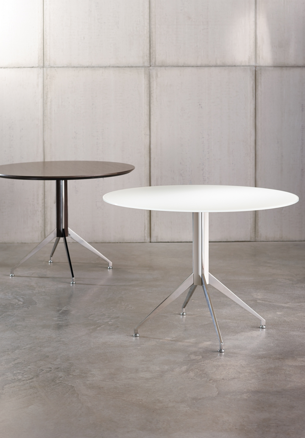 "Preview of Merino | Meeting Table | 36"" Round MS Meringue Satin Back Painted Glass and Polished Chrome X Base 