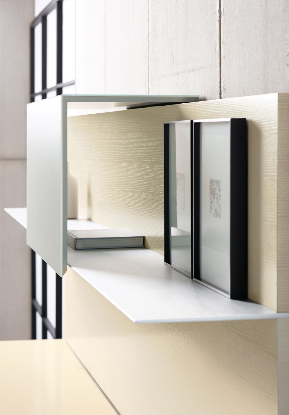 Preview of Merino | Casegood | Clear Anodized Shelf | Chalk Quartered Ash Veneer | Detail