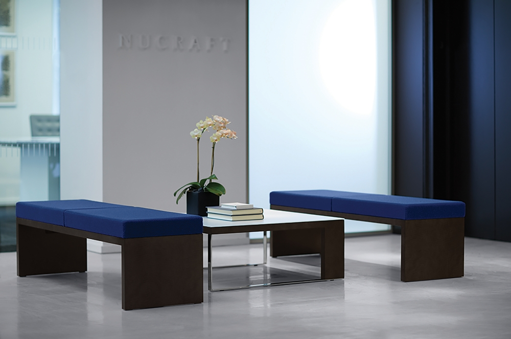 Preview of Emme | Bench | COM Fabric | Veneer Base