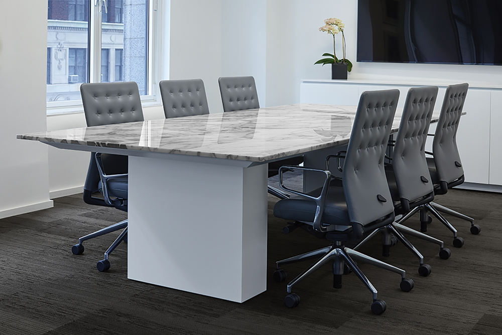 Preview of Flow | Conference Table | Rectangle Custom Stone Top | Cloud Paint Column Base | New York Showroom