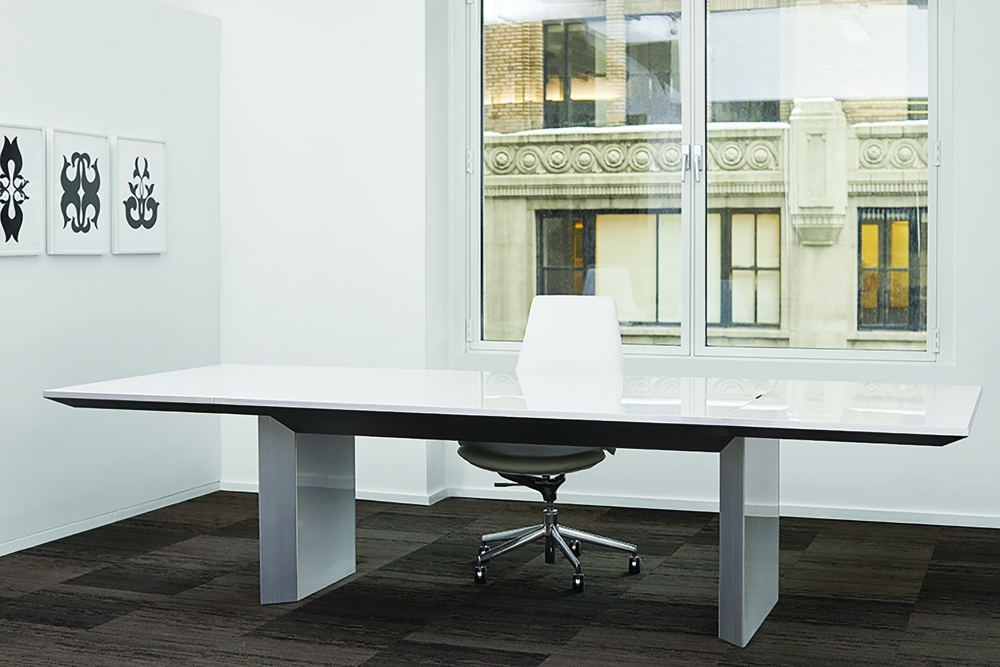 Preview of Tavola | Conference Table | White Glass Rectangle Top | With Chair | New York Showroom