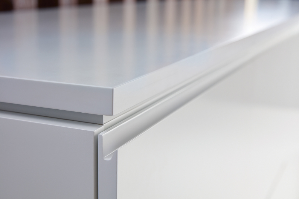 Preview of Performance Credenza | Utility Credenza | Cloud Paint | Integrated Pull Detail | Chicago Showroom